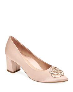 元169.95. TARYN ROSE Pump Maci Satin Crystal Block-Heel Evening Pumps #tarynrose #pump #shoes