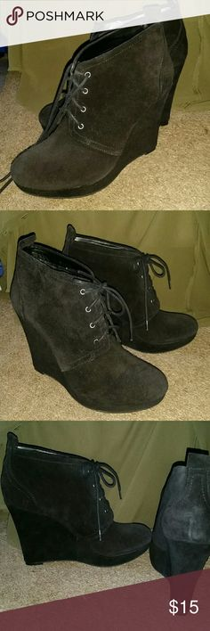Black suede wedge booties New. Too tall for me. Jessica Simpson Shoes Wedges
