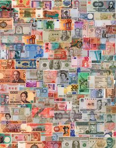 A Challenging Collage Depicting The Distinctive Images Found On Currency Of World S Nations