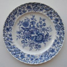 """Romantic Staffordshire Victorian Floral Toile Plate Here is a gorgeous plate depicting a bouquet of mixed flowers on the face and around the scalloped border. Measures: 8"""" Condition: Beautiful! No chi"""