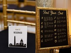 DIY DC themed wedding details - learned at our #CapRoWorkshop ! Cait & Bill's black and gold, DIY Washington DC wedding at Carnegie Institution for Science | Images: Stephen Gosling Photography