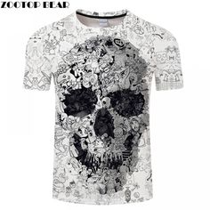 White T Shirt Skull Tshirt Men T-shirt Male Top Summer Tee Quality Camiseta Short Sleeve O-neck Hip Hop Drop Ship Zootopbear Skull Shirts, 3d T Shirts, Rock T Shirts, Casual T Shirts, Alternative Outfits, Alternative Fashion, Wolf Skull, Hip Hop, Tee Shirt Homme