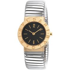 Bulgari Women's Vintage Bvlgari BB23 Two-Tone Ladies Watch, 23mm (12505 QAR) ❤ liked on Polyvore featuring jewelry, watches, multi, mint watches, round watches, two-tone watches, black dial watches and stainless steel jewelry