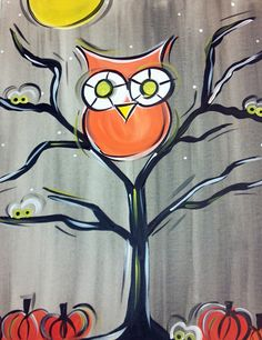 Spooky Hootie-3rd grade-Watercolor backgound, tempra paint foreground then use either fingers or q-tips for details...