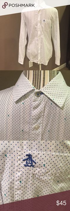 munsingwear slim fit dress shirt White with navy blue dots and tiny green palm trees Munsingwear Shirts Dress Shirts