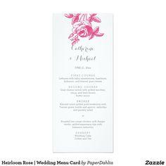 Heirloom Rose | Wedding Menu Card