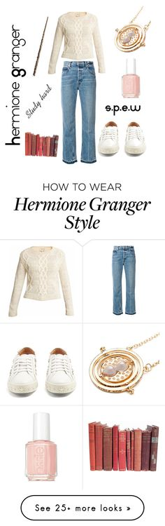 """Hermione Granger"" by pxtterpd on Polyvore featuring Helmut Lang, Aquazzura and Essie"