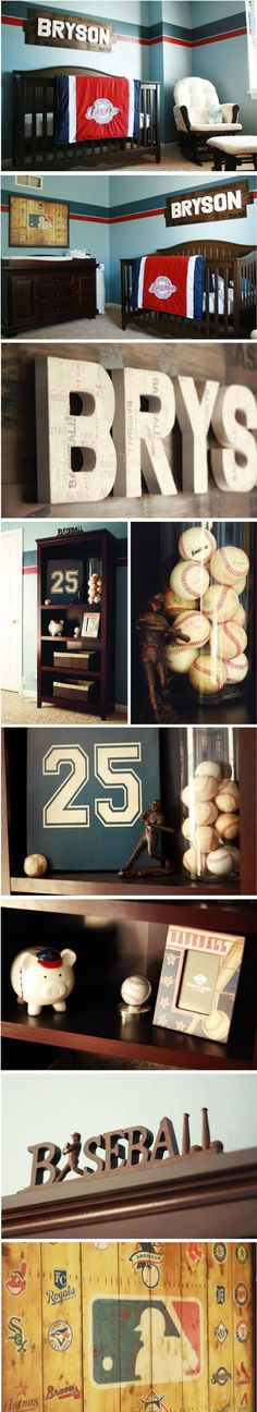 Antique Baseball themed Boy Nursery.  Displayed his Daddy's old homerun balls and his old baseball number. Love how this room turned out :)
