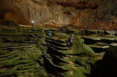 Hang Son Doong, l'immense grotte vietnamienne Organisateurs de l'expédition, Deb et Howard Limbert s'enfoncent dans un labyrinthe tapissé d'algues. Ils ouvrent la voie au milieu du paysage sculptural de Hang Son Doong.