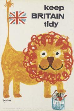 Royston Cooper vintage Keep Britain Tidy poster lion Vintage Advertisements, Vintage Ads, Vintage Posters, Retro Poster, Poster Ads, Mid Century Art, Grafik Design, Vintage Travel, Travel Posters
