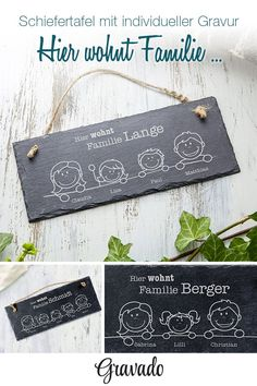 Schiefertafel mit Gravur - Hier wohnt - Schieferplatte personalisiert The slate with engraving is the perfect gift and a nice decoration for every family. The family constellations are put together as Plotter Silhouette Cameo, Slate Board, The Slate, Great Gifts For Dad, Door Signs, Schmidt, Diy Gifts, Fathers Day, Primitive Decor