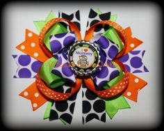 Halloween Boutique Hairbow Beautiful Mix and by tootoocute4you, $6.75