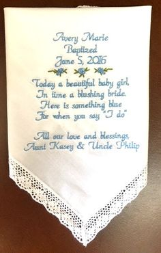 Baptism handkerchief Special Baptism Gift by CanyonEmbroidery