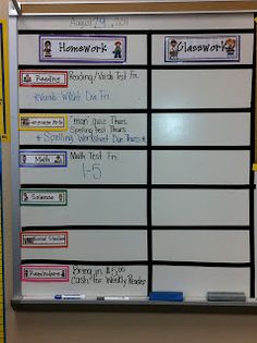 This goes hand and hand with my OBJECTIVE board.  I can easily show homework this way - right next to my objective board.