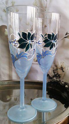 Something blue Wedding Glasses Champagne by PaintedGlassBiliana
