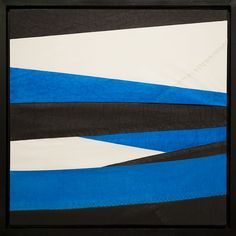 """""""Ice Floe No Mo no.1""""  26″ x 26″ (including frame) Dye and ink on layered sailcloth, stretched on handmade wood stretcher bars and sold with a rustic, handmade, black, wood frame.  #art #interiors #interiorDesign #WallArt #HomeDecor"""
