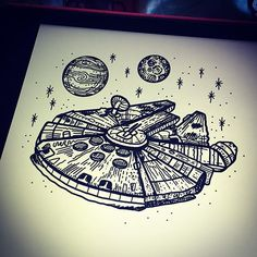 New design- Millenium Falcon illustration! Available to be tattooed @tattooteaparty this weekend!!! ...