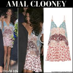 Amal Clooney in embroidered printed silk mini dress