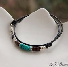 Black Leather Wrap Men's Bracelet, Sterling Silver, Turquoise, Shell Heishi  Beaded Bracelet, Double Wrap,Tribal Mens Jewelry, Gift For Him