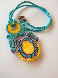 handmade by Soutache jewellery/ sutaszowa bizuteria Soutache Pendant, Soutache Necklace, Tassel Earrings, Pendant Necklace, Boho Jewelry, Jewelry Necklaces, Jewellery, Soutache Tutorial, Fashion Art