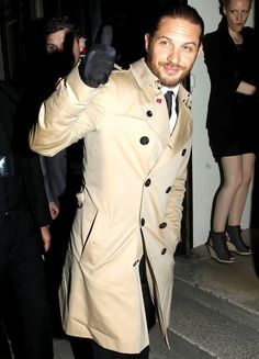 Tom Hardy wearing a beautiful trench coat by Burberry