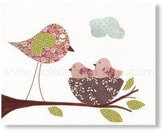 Nursery print - childrens art print - kids room decor - baby nursery wall art - nursery girl room - Birds - Warm and Cozy print