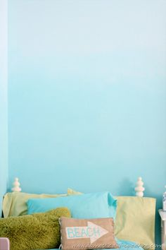 Create a beachy blue bedroom with the ombre paint effect