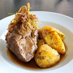 #LancashireLife #luncheon, The Olive Tree Brasserie, #LythamStAnnes. #Main Arni Kleftico: Tender shoulder of lamb on the bone, slow roasted with garlic and herbs, Greek style roast potatoes, tzatziki.