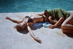 "Romy & Alain Delon, having a break while shooting "" LA PISCINE "", 1968"