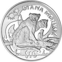 Sierra Leone 2009 - Endangered Primates: Diana Monkey - Proof Sterling Silver