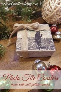 Make homemade photo tiles using nail polish remover- easy steps photo tiles-DIY photo coasters from tiles-favorite photos on tiles for gifts-DIY photo gifts