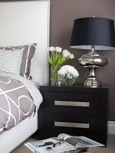 Contemporary Bedroom Design, Pictures, Remodel, Decor and Ideas - page 3 - like this side table