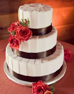 Brown and Red Wedding Cake