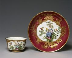 Cup and Saucer by Chelsea, 1759-69. [Cup] H: 4.4cm, W: 8.9cm, [Saucer] Diam: 13.0cm. Although the figure subjects here are not directly copied from the work of the French Rococo painter Jean-Antoine Watteau (1684-1721), they are certainly inspired by his work.