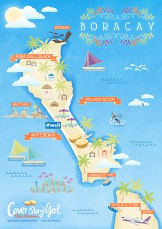 Map of Boracay, Aklan, Philippines drawn for Cover (Story) Girl