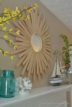 DIY sunburst mirror, stain wood to look reclaimed? Sun Mirror, Sunburst Mirror, Mirror Art, Wall Mirrors, Wood Animals, Diy Deco Rangement, Paint Stirrers, Vinyl Shutters, Arts And Crafts