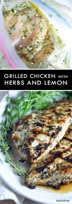 Grilled Chicken Breasts with Herbs and Lemon - this simple no-fail grilled chicken recipe can be enjoyed with any vegetable for an easy weeknight meal. Use up any left overs in a sandwich the next day!