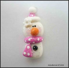 *POLYMER CLAY ~ Bead or Bow Center Sparkle Snowman in Pink