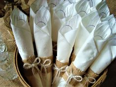 """Set of 25 Small Burlap Napkin Rings (Ideal for Disposable Silverware and Napkins) – With Option for """"No Bows"""" - Brautparty Ideen Wedding Silverware, Wedding Napkins, Wedding Table, Wedding Ideas, Anniversary Decorations, 50th Wedding Anniversary, Anniversary Parties, Burlap Wedding Decorations, Burlap Bows"""
