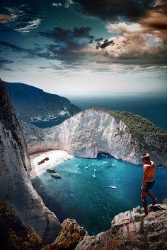 Looking down at Shipwreck Beach - Zakyntos, Island of Corfu Greece