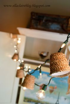 Twine Wrapped Dixie Cups tutorial to Cover Lights--Great for Patio