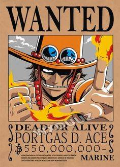 One Piece Ace, Poster One Piece, One Piece Comic, One Piece Luffy, Manga Anime One Piece, Anime Manga, Wanted One Piece, Monkey D. Luffy, Anime Naruto