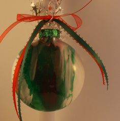Red Green and White handpainted glass ornament by FriendlyDane, $7.50