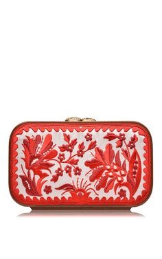 Milky white floral brocade embroidered square bag by KATRIN LANGER for Preorder on Moda Operandi