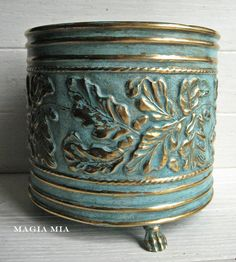 Your place to buy and sell all things handmade Chalk Paint Projects, Pallet Projects, Brass Planter, Rustic Shabby Chic, Oak Leaves, Silk Flower Arrangements, Dark Wax, Deep Teal, Painted Pots