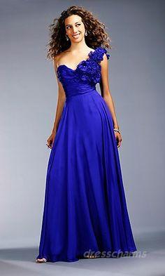 A-Line Chiffon One-Shoulder Long Dress Charm85741