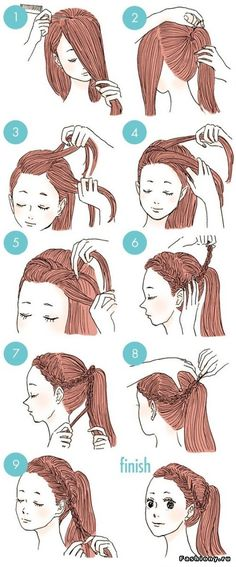 New hair styles cute for school hairdos 37 ideas Hairstyles For School, Ponytail Hairstyles, Cute Hairstyles, School Hairdos, Drawn Hairstyles, Curly Ponytail, Ladies Hairstyles, Bridal Hairstyle, Natural Hairstyles