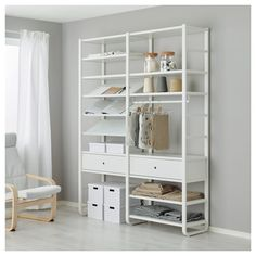 Add more storage space with ELVARLI Shelf unit, white. ELVARLI storage system adapts to your space. The open solution with durable bamboo shelves creates an attractive display of your belongings. Elvarli Ikea, Ikea Pax, Grande Armoire, Ceiling Materials, Ikea Wardrobe, Bamboo Shelf, Ikea Family, Painted Drawers, Plastic Drawers