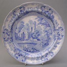 BLUE AND WHITE PLATE - BEAUTIES OF ENGLAND AND WALES - C. 1825