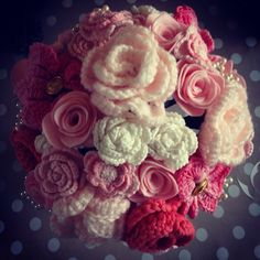 Bridal bouquet in pinks and coral crochet and felt with pearls and aqua foliage  http://florachet.moonfruit.com